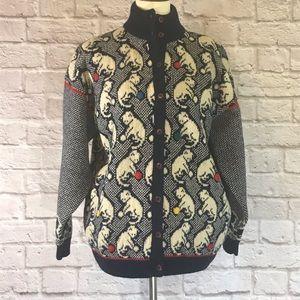 Vintage Shetland wool cardigan, cats, navy/cream